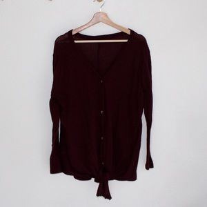 Sweaters - Burgundy waffle knit tie front cardigan